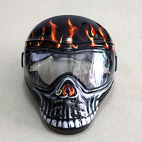 Wholesale Tactical Military Full Face Mask With ANTI FOG DOUBLE LENS red devil Airsoft paintball New