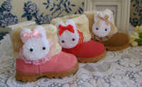Wholesale 2013 Winter Warm Thick Kids Shoes Baby Snow Boots Baby Girls Boys Ankle Lovely Bunny Cartoon Lace Cotton Shoes B1084