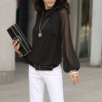 Wholesale Fashion Latern Sleeve Bow Blouse Chiffon Long Sleeve Plus Size XXXL XXXXL Top Women Clothing C0012