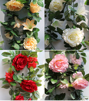 Wholesale NEW Arrivals m quot Length Artificial Silk Flowers Rattan Simulation Rose Vine Rose Lily Hyacinth Mix Flower Vines Wedding Decoration