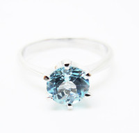 Wholesale Sterling Silver amp Li Blue Topaz Engagement Ring All Size