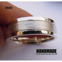 Silver Plated ring size 4 - 8mm Mens Solid Sterling Silver Wedding Band Ring Handmade All Size