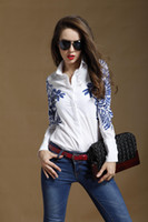 blouse free size - ohlees Polo women s blue totem flower print white long sleeve ladies blouses botton up tops for ladies casual business plus size free SH