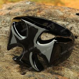 Wholesale Maltese Iron Cross Biker Ring Black Stainless Steel MER190