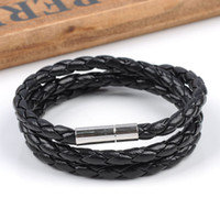 Wholesale Unisex Braided Black Wrap PU Leather Cord Wristband Bracelet Necklace Stainless Steel Magnetic Clasp