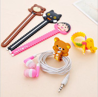 Wholesale Winder Earphone cable winder cute relax little bear cat earphone holder soft silicon winder
