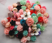 Resin   100pcs Mixed Flatback Resin Flowers Beads Cabochons For Scrapbooking Craft Hair Clips