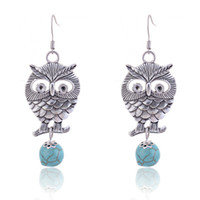 Wholesale Vintage Owl Turqoise Beads Pendant Earrings marc hoop gold flower feather earring the wings for women cartilage earring abalone earings