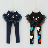 Wholesale Childrens Skirt Leggings Skinny Pants Baby Wear Long Trousers Girls Lace Tights Kids Trouser Fashion Bowknot Princess Leggings Girl Clothes