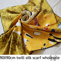 Wholesale 2013 Twill silk square scarf Nature mulberry silk Hand rolled edge X90cm