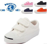 Wholesale Children Girls Boys Solid Plain Velcro Canvas Shoes Plimpsole Trainer Sneakers Shoe Multicolored Casual Shoes B1092