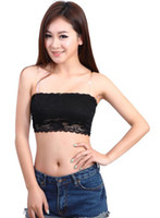 One Size bandeau bra tops - Full lace Strapless Bra Tube Top Bandeau Wrap Chest Vest WRAP CHEST