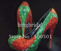 NEW GREEN & RED SWAROVSKI CRYSTAL HIGH HEEL PUMPS PEEPTO...