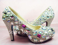 WOMENS HIGH HEEL WEDDING SHOES COLORFUL SWAROVSKI CRYSTAL BR...