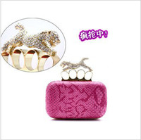 Wholesale women s evening bags rhinestone leopard handle snakes PU leather clutch dinner bag wedding purse
