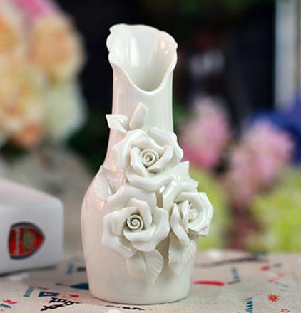 Elegant White Ceramics 3 Rose Vases Cheap Discount
