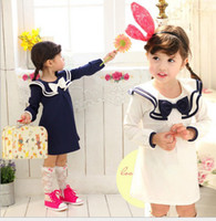 Wholesale 2013 New Korean College Wind baby girl Navy long sleeved dress dress princess dress children s clothing White Blue cotton JU78