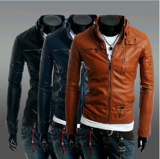 2017 Hot Fashion New Men'S Jacket Pu Leather Jacket Multi Zipper ...