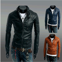 Wholesale New Fashion Men s Stand up collar Zipper Buttons PU leather Locomotive Stylish men Leather coat Slim Jacket