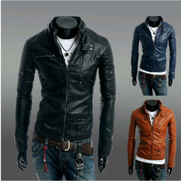 Wholesale Short Brown Leather Jackets - New Fashion Men's Stand-up collar Zipper Buttons PU leather Locomotive Stylish men Leather coat Slim Jacket #2914