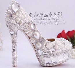 Promotion perles de diamant hauts talons Rêve de perles de diamant chaussures de mariage à talons hauts imperméable à l'eau unique de chaussures de luxe slipper chaussures de photos de la mariée et de demoiselle d'honneur