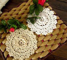 Wholesale Handmade Crochet Cotton Lace Round Ecru Cup Coaster mat pad Doily CM