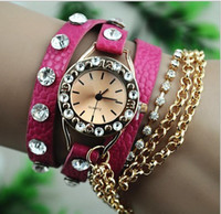 Wholesale Promotion Fashion leather strap Chain Watch Bracelet Ladies Wind Rivet wirst watches Women Luxury Crystal Watch