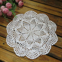 100% Cotton Bamboo ECO Friendly Free shipping wholesale 100% cotton lace hand made Crochet doilies cup mat Natural color 28CMX28CM Round Doily 12PCS LOT