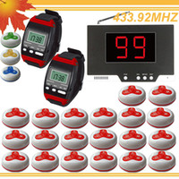 Wholesale 1set LED Display Wireless Waiter Service Call Bell System w watch pager waterproof buzzer DHL free