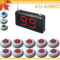 Wholesale 99 Zones LED Display Wireless Hotel Call waiter Service Calling paging System O1 S w Calling Button LED size x157x42mm free ship