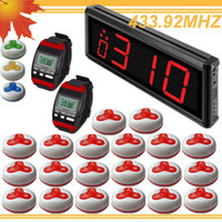 433.92mhz bell buzzer - 1set LED Display Wireless Waiter call bell calling pager system w wireles pager wireless calling buzzer DHL free