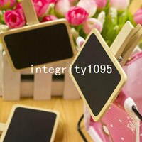 Wholesale Mini blackboard clips Rectangle shape wooden message board creative wedding chalkboard clip