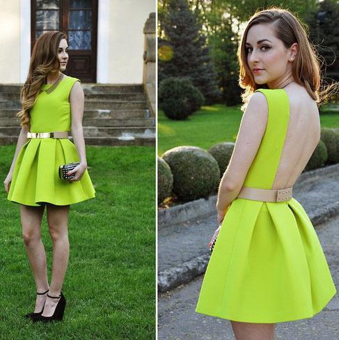 New Fashion Neon Cute Dress, Belt Dress, Pleated Sexy Dress ...
