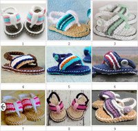 Wholesale Crochet baby sandals first walker shoes infant stripe slippers M double sole thongs pairs cotton