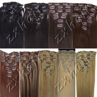Wholesale 20 quot set Clip hair Remy Human Hair Extension b