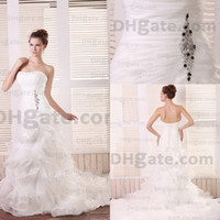 Model Pictures Strapless Organza Real Image Sexy Sweetheart Rosette Organza Bridal Sweep Train Princess 2012 Mermaid Wedding Dresses EF107