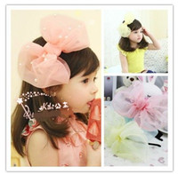Wholesale NEW hair band children fashion Bow hair accessories Girls Super big beautiful tulle bow Hair Sticks baby headwear