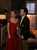 gossip girl - 2013 Celebrity Dresses Gossip Girl Blair Red Dresses Sexy Cap Sleeves Appliques Satin Long Prom Evening Dresses Pageant Gowns