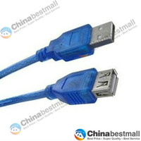 Wholesale 0 m m m m m USB A Female to A Male Computer Cables Computer extension Data Sync Cord Cables Blue