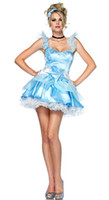 Wholesale Discount Blue Fairy Costumes Dresses For Women Sexy Princess Fancy Holloween Female Ladies Fantasy sex is the clothing suits Uniforms