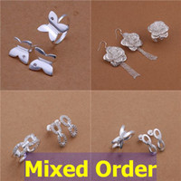 Wholesale Mixed Order Fashion High Quality Sterling Silver Plated Earrings Ring Jewelry Set SET109