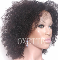 Wholesale Oxette African American inch Afro wigs Mongolian kinky curly hair full lace wig amp front lace wig with baby hair bleached knots