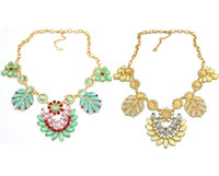 Wholesale New Arrival Bohemia Style Gold Plated Link Chain rhinestone crystal gem opal leaves flower Pendant Necklaces N