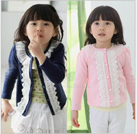 Wholesale Pink Outfits for Giirl Long Sleeve Cardigan Round Neck Long Sleeves Cute Lace Design On Front with Buttons Cotton Blend Fabric B12