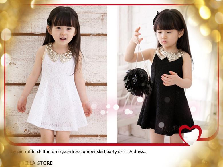 2017 Vintage Baby Girls Kids Summer New Dresses Girls Sequins Doll ...