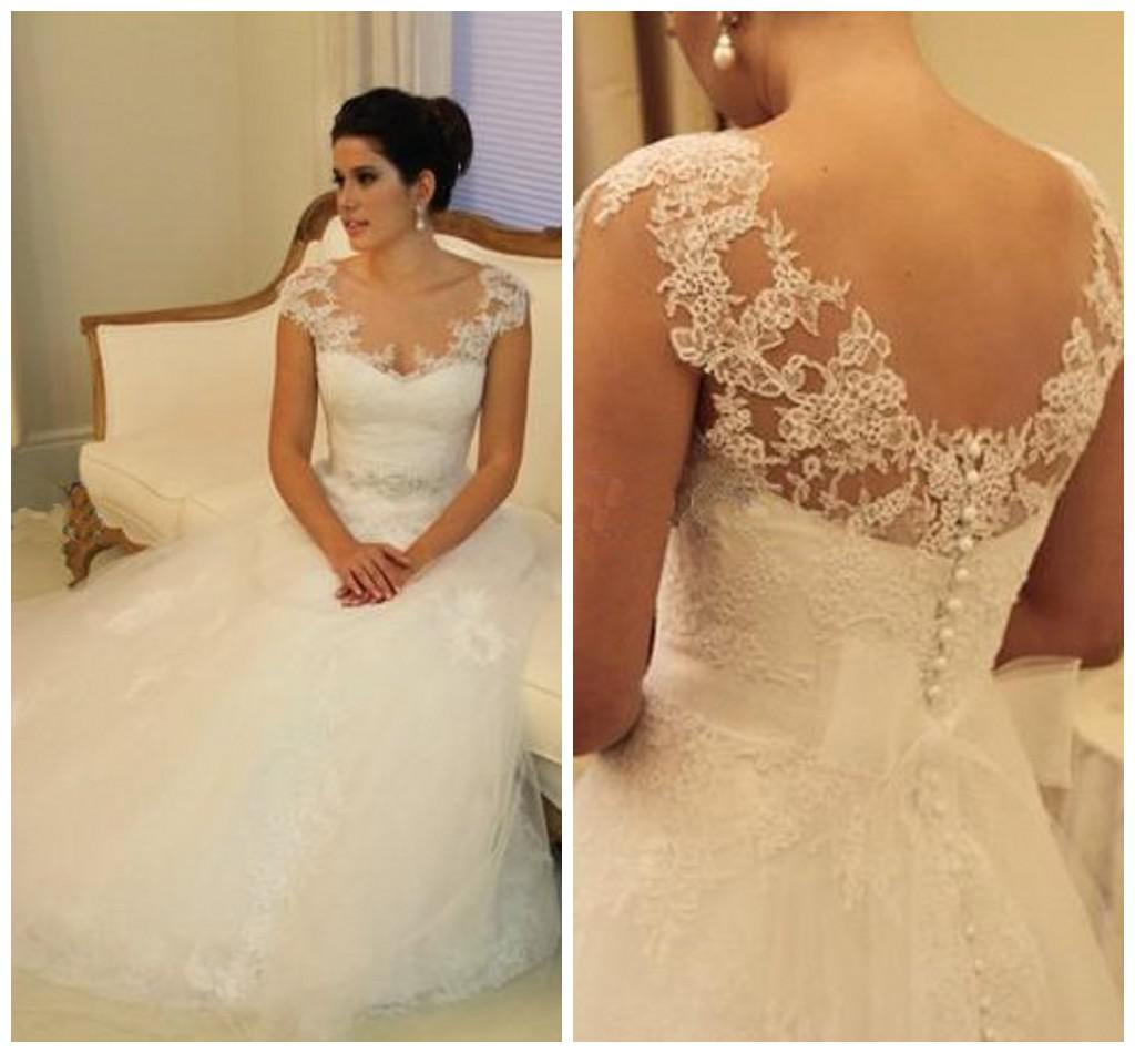Ball Gown Sheer Cap Sleeves Wedding Dresses Sexy Covered Button ...