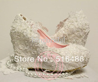 2013 fashion wedding wedges bride single shoes lace pearl cu...