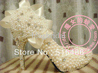 2013 Wedding crystal bridal shoes rhinestone pearl high- heel...