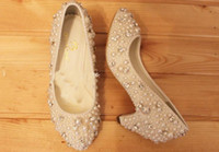 Wholesale Fashion Shoes for Party ceremony Imitation Pearl Wedding Bridal Shoes low heel cm lady shoes Handmade Girl Formal Dress Shoes