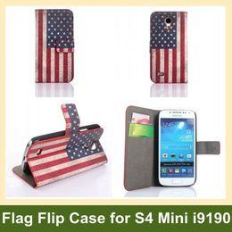 Wholesale National Flag Wallet Case for Galaxy S4 Mini i9190 Retro Flag Flip Folding Case for Samsung Galaxy S4 Mini i9190 Free Ship